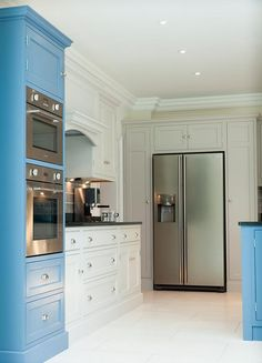 Painting your kitchen units in two colours is a current trend. 'Pop' units in bright colours to stand out, then blend others (a soft grey for the fridge blends into the background). Shaker Style Kitchens, Shaker Kitchen, Kitchen Units, Kitchen Ideas, Painting Kitchen Cabinets, Kitchen Paint, Kitchen Design, Fridge Built In, American Fridge