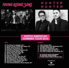 NEWS: The rock band, Young Rising Sons, has announced a co-headline summer North American tour with Hunter Hunted and support from CRUISR. The band also has some June tour dates with The Kooks and Joywave. You can check out the dates and details at http://digtb.us/1SB47hm