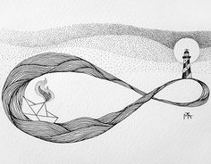 infinity, boat, lighthouse, lines, dots, minimal, tattoo, sketch, drawing