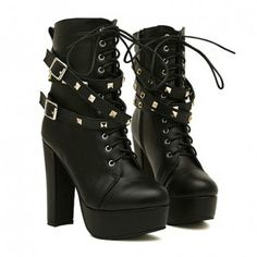 New Arrival Belt and Rivets Design Short Boots For Women, BLACK, 38 in Boots | DressLily.com