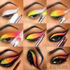 Acirc Yen Acirc Yen Acirc Middot Amma Make Up Colorful Eye Makeup Carnival Makeup Makeup Eye Makeup Steps, Makeup Eye Looks, Eye Makeup Art, Creative Eye Makeup, Colorful Eye Makeup, Neon Eyeshadow, Eyeshadow Makeup, Eyeshadow Pigments, Make Up Designs