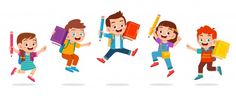 happy cute kids boy and girl jump - Buy this stock illustration and explore similar illustrations at Adobe Stock Back To School Kids, Back To School Special, Funny Kids, Cute Kids, School Icon, School School, Toddler Learning Activities, Vintage Logo Design, Graphic Design