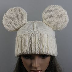 Hand knitted unisex ''Mickey Mouse'' hat. This by WoolyThinker