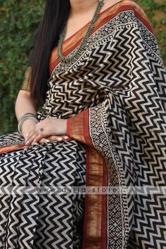 Handblock Printed Chanderi Silk Saree by Dvija Cotton Saree Designs, Silk Saree Blouse Designs, Chanderi Silk Saree, Organza Saree, Kalamkari Saree, Georgette Sarees, Cotton Sarees Online, Silk Cotton Sarees, Block Print Saree
