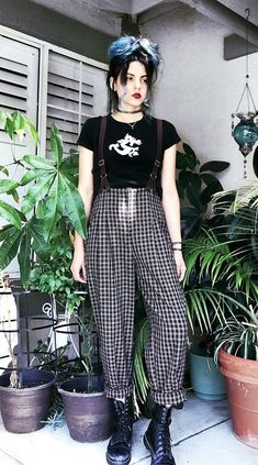 Choker tattoo necklace with printed black tee, plaid trousers with straps & combat boots by athousandchapters