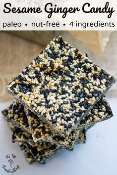 black and white sesame seed squares with text overlay Gluten Free Cookies, Gluten Free Desserts, Gluten Free Recipes, Real Food Recipes, Snack Recipes, Dessert Recipes, Cooking Recipes, Paleo Dessert, Dessert Bars