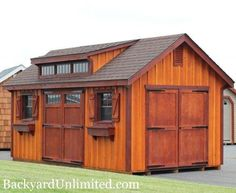 10'x16' Garden Shed with Board and Batten Siding, Flower Boxes, Shutters, Transom Dormer, Gable Vents, Transom Doors, and Rustic Cedar & Mah...