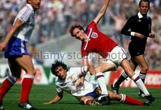 England 3 France 1 in 1982 in Bilbao. Phil Thompson goes in on Michel Platini in Group 4 #WorldCupFinals