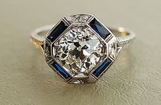 1920s-antique-engagement-ring-with-center-diamond-and-sapphire-accents SIT Fine Jewelry