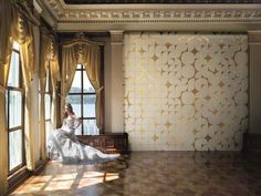 gold feature tile, feature wall: rumi white in gold by kalebodur