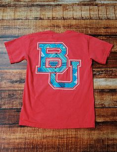 """""""BU"""" t-shirt in pink and blue. Is there such a thing as too many #Baylor shirts?"""