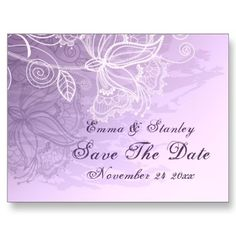 White vintage lace purple wedding Save the Date Postcard