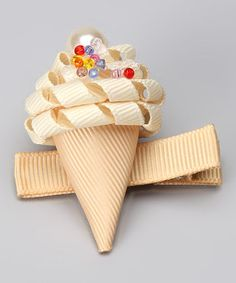Vanilla Ice Cream Cone Clip by Sweet Treat Bows Ribbon Art, Ribbon Crafts, Ribbon Bows, Ribbon Flower, Grosgrain Ribbon, Diy Crafts, Hair Ribbons, Diy Hair Bows, Ribbon Hair Clips