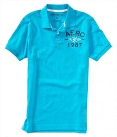 Polo Aeropostale Men's Aero 1987 Jersey Polo mexicali Blue #Polo #Aeropostale