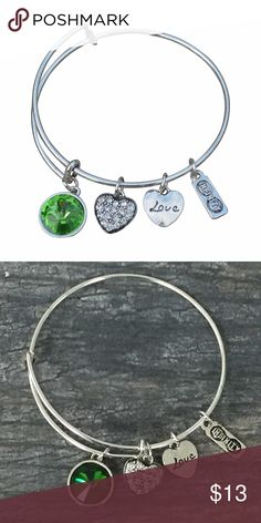 "May Birthstone Bracelet Birthstone Jewelry Birthday Bangle Jewelry- May Birthday Bangle Bracelet - Birthday Jewelry  May Birthday Bangle Bracelet for Women.  This gorgeous birthday bracelet is the perfect gift for her. Every Women will love this bracelet and the meaning behind it. This bracelet represents infinite love for that special someone.  Perfect Birthday Gift for Womens!!  Bracelet Details: Silver Plated and  Color Inner diameter:2.36""-2.56""   Metals Type: Zinc Alloy Jewelry…"