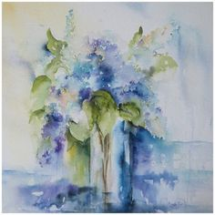 Lilacs in watercolour  Love the soft colors and loose watery feel of this painting