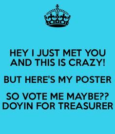 asb poster ideas   Treasurer Poster Ideas   Is Crazy But Here S My Poster So Vote Me ...
