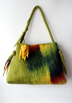 Felted bag with yellow tulip