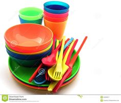 Multicolored Plastic plates, cups Stock Image - Image: 24435181