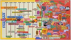"""Loren Munk, """"History of Art Timeline"""" (2004-2006) oil on linen, 54 x 96 inches"""