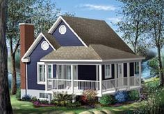 Small house with a wrap around porch! I could live in this house! Cottage Style House Plans, Tiny House Plans, Cottage Homes, Cottage Plan, One Bedroom House Plans, Small House Plans Under 1000 Sq Ft, Best Tiny House, Irish Cottage, Cottage Farmhouse
