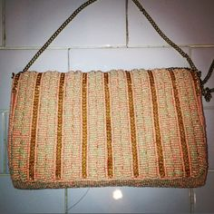 Beads purse with gold strap $78 #purse#vintage#beads#pink#PinkBeadsPurse