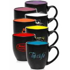 Bistro coffee mug, 16 oz. Wide ceramic bistro mug with smooth rim, glossy finish with a curved grip and tapered bottom. A great mug that holds well to everyday use for your favorite coffee or tea. Great for promoting your logo or company names.