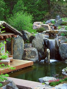 Asian Garden with Waterfall