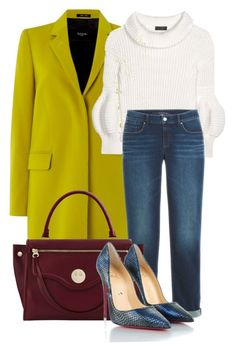 """""""Colored Coat and Denim"""" by ojomrs on Polyvore featuring Paul Smith, Burberry, Hill & Friends and Christian Louboutin"""