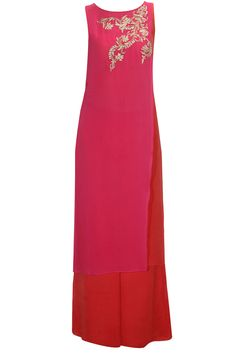 Pink and coral embroidered layered kurta with flared pants available only at Pernia's Pop-Up Shop.