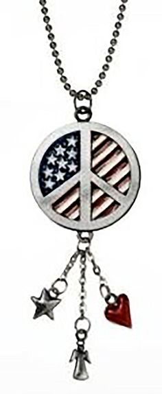 """Amazon.com: Cool & Custom {7"""" Chain Hang} Single Unit of Rear View Mirror Hanging Ornament Decoration Made of Zinc Alloy w/ America Patriotic American Flag Peace Symbol Design [Cadillac Silver, Red and Blue]: Automotive"""