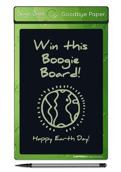 Improv Electronics is giving away five of these customized collector's edition Boogie Board eWriters for Earth Day! Repin for a chance to win!