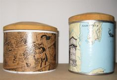 Upcycled tin cans with new wooden lids and decorated with decoupage - cartoon and map from an old book. By Sophia Aisinger