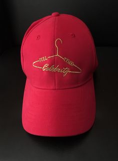Full-Time Celebrity Cap by Fulltimecelebrity's shop Adjustable dad hats. Red with metallic gold logo!