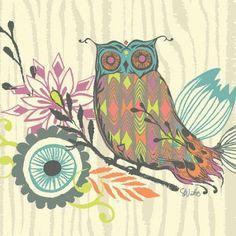 Oopsy Daisy - Owl & Foliage Canvas Wall Art 18x18, Sarah Watts