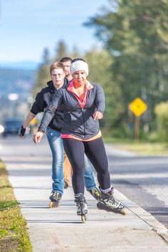 Students roller blading in the fall of 2014.