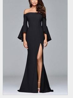 Faviana Bell Sleeve, Crepe Off Shoulder Gown - Harriman Clothing Co. Elegant Dresses For Women, Beautiful Dresses, Long Gown Elegant, Pretty Dresses, Black Formal Gown, Romantic Dresses, Bohemian Dresses, Dress Black, Maxi Dress With Sleeves