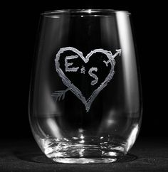 Engraved Stemless Wine Glasses, Etched Wine Lover Gift Ideas, SET OF 4 (m53less). Carved Initials in Heart Stemless Wine Glass, Lovers Tree Design Our Carved Initials in a Heart with Arrow stemless wine glass is reminiscent of an old tree with lovers' initials carved into the bark to proclaim their undying love for each other. What a thoughtful and romantic way to profess your forever love to your girlfriend, wife, boyfriend or husband! Looking for a unique and personalized bridal shower...