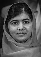 "Malala Yousafzai - only 17 years old.  The Nobel Peace Prize 2014 was awarded jointly to Kailash Satyarthi and Malala Yousafzai ""for their struggle against the suppression of children and young people and for the right of all children to education"""