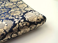 Kobalt blue gold dark heavy Indian silk brocade by SilksByUmf