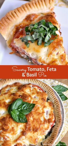 This Savory Tomato Feta and Basil Pie is a delicious twist on the Southern classic! Bursting with fresh summer flavors you'll want to enjoy this classic tomato pie all season long!