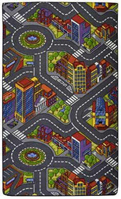 Road Map PlayTime Area Rug For Kids 4ft0in x 6ft0in City Grey Uz-Ite
