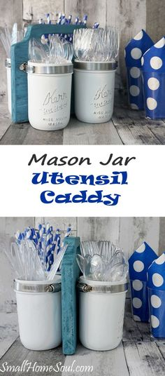 Ready for Summer Picnics? This Mason Jar Utensil Caddy is perfect for BBQ or a potluck.  Make this DIY project in a day with my tutorial and be ready to party,