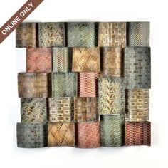Kirkland's: Metal Square Wave Plaque ?Smaller and attached ?  {3 unique sets of 6 pieces each} Living Room, Dining Room, or Staircase) $39.99 $29.99