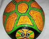Garden art/Hand Painted Fun Turtle Stone / Painted Rock / Garden Turtle Stone / Yard Art / Paper weight / Home Decor / Great Gift on etsy