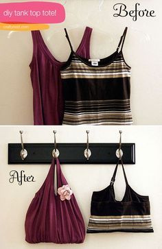 DIY: Old Tank Top To Beach Tote Bag No need to throw away those old tank tops that are starting to sag (ahem)…just turn them into stylish totes! Very clever tutorial Before you pack away your summer clothes for the winter, you might want to set one of your tank tops aside to make one of these easy totes. The best kind of tank tops to use fo