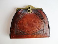 Art Deco 1920's Meeker Made Hand-Tooled Leather Clutch Purse