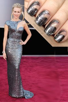 Naomi Watts at the Oscars inspired mani - shades used in this are: Lucerne-tainly Look Marvelous by OPI and Set in Stones by Essie.
