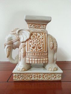 Vintage Ceramic Elephant Plant Stand In Light Blues 24 99