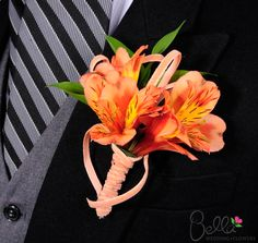 Orange peruvian lilies wedding bouquet and coordinating boutonniere. Fresh alstroemeria wedding bouquets and boutonnieres are designed for you and shipped directly from the grower to your door! Sunset Wedding, Floral Wedding, Wedding Bouquets, Wedding Flowers, Black Corsage, Alaskan Wedding, Orange And Pink Wedding, Peruvian Lilies, Bear Wedding